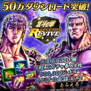 セガゲームス『北斗の拳 LEGENDS ReVIVE』が50万DL突破…「天星石×300」や「天星石ガチャ券×4」などプレゼント