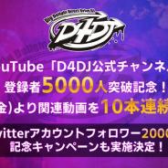 ブシロード、YouTube「D4DJ公式チャンネル」登録者が5000人を突破! 6月14日より関連動画を10本連続公開
