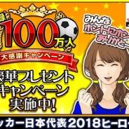 アクロディア、『サッカー日本代表2018ヒーローズ』で「登録100万人大感謝キャンペーン」を実施