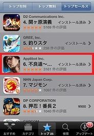 アプリボットのiPhone用ソーシャルゲーム『不良道』がApp Storeトップセールス6位に