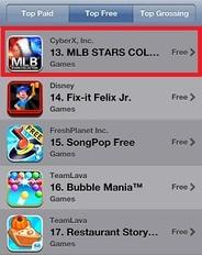 CyberXの『MLB STARS COLLECTION』が米App Store無料ゲーム13位に