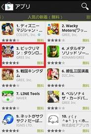 ドリコムのAndroidアプリ版『ビックリマン』が「人気の新着アプリ(無料)」で3位に上昇