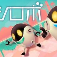 コロプラ、新感覚ランゲーム『ハシロボ』Android版を配信開始。左右の世界を同時並行で進んでいく2体のロボットを操作