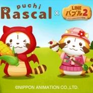 LINE、『LINE バブル2』がアニメ「世界名作劇場」シリーズの人気作「あらいぐまラスカル」とのコラボキャンペーンを開催!