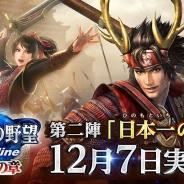 コーエーテクモ、『信長の野望 Online ~勇士の章~』で「勇士の章」の第二陣「日本一の兵」を12月7日に実施