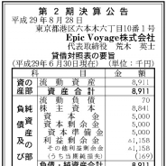 LINEとグリーの合弁会社Epic Voyage、17年6月期は16万円の最終赤字