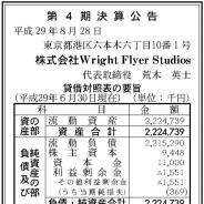 Wright Flyer Studios、2017年6月期の最終損益は36万円の赤字