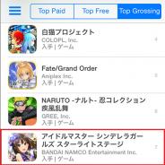 バンダイナムコ、『アイドルマスターシンデレラガールズ スターライトステージ』のiOS版が早くもApp Store売上ランキングで7位に
