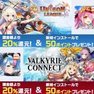 mediba、「auゲーム」でエイチームの提供する『ユニゾンリーグ』と『ヴァルキリーコネクト』のauゲーム版を配信開始