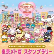 東京メトロ、「2018年サンリオキャラクター大賞」開催を記念したスタンプラリーを5月3日より開催