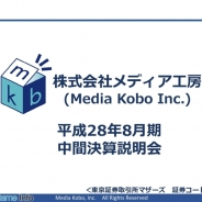 【メディア工房決算説明会】ヒットコンテンツの不在や新作ゲームの遅延で営業益80%減 下期以降、韓国子会社や新作リリースで挽回目指す