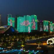 ブシロード、『スクスタ』簡体字版リリースを記念して、浙江省杭州市銭江新城にて高層ビルのライトアップを実施
