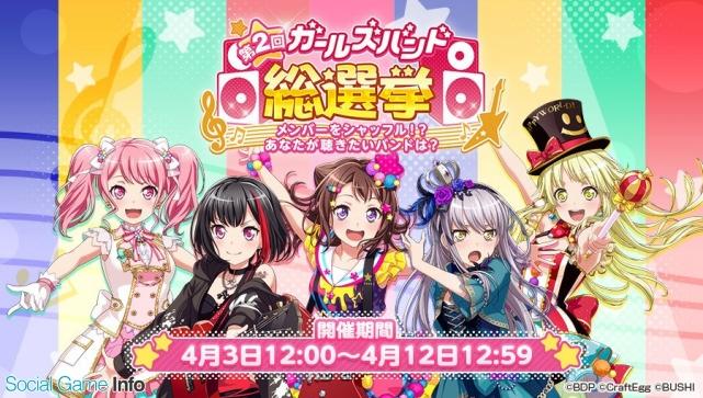 ブシロードとCraft Eggは、本日(4月3日)12時より、『バンドリ! ガールズバンドパーティ!』で「第2 回ガールズバンド総選挙~メンバーをシャッフル!?